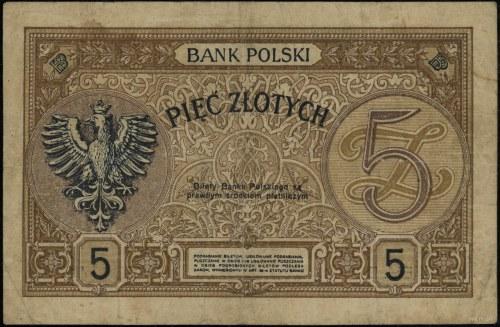 5 złotych, 15.07.1924; seria II EM–B, numeracja 538141;...