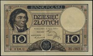 10 złotych, 15.07.1924; II emisja, seria C, numeracja 3...