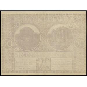 Druk offsetowy strony odwrotnej projektu banknotu 50 zł...