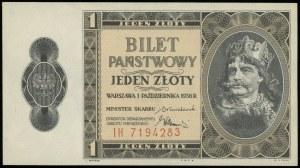 1 złoty, 1.10.1938; seria IH, numeracja 7194283; Lucow ...