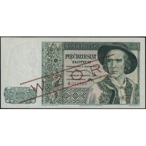 50 złotych, 15.08.1939; seria A, numeracja 012345, czer...