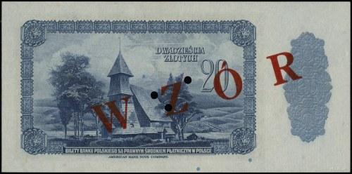 20 złotych, 20.08.1939; numeracja 0000000, czerwony uko...