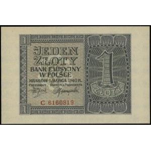 1 złoty, 1.03.1940; seria C, numeracja 6160819; Lucow 7...