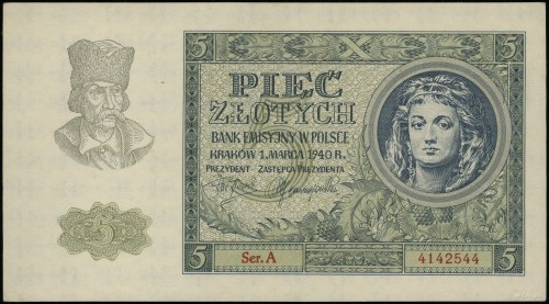 5 złotych, 1.03.1940; seria A, numeracja 4142544; Lucow...