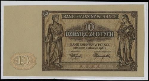 10 złotych, 1.08.1941; seria A, numeracja 0000000, stro...