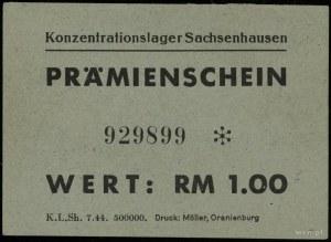 Bon na 1 markę (1944); numeracja 929899 ✻, papier zielo...
