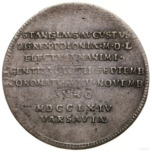 Żeton koronacyjny, 1764, mennica Toruń (?); Aw: Korona,...