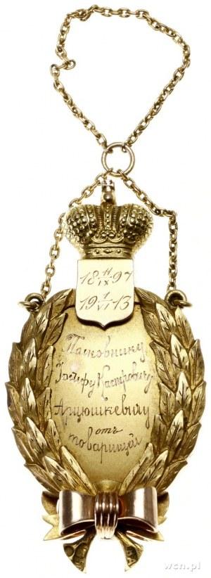 Pamiątkowa odznaka, 1913; Wieniec laurowy zwieńczony ta...