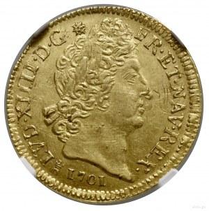 Louis d'or aux 8L et aux insignes, 1701 M, mennica Tulu...
