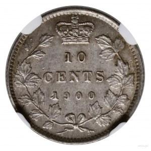 10 centów, 1900, mennica Londyn; KM 3; moneta w pudełku...