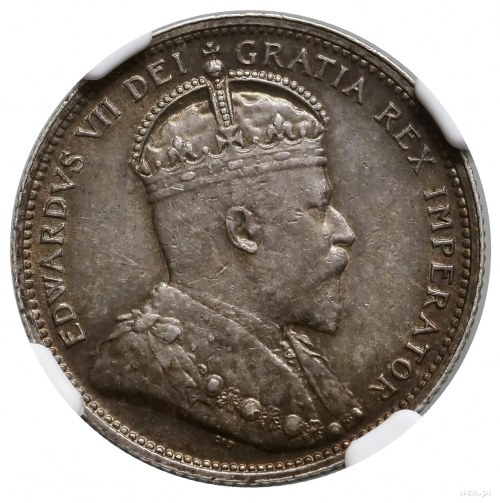 25 centów, 1907, mennica Londyn; KM 11; bardzo ładna mo...