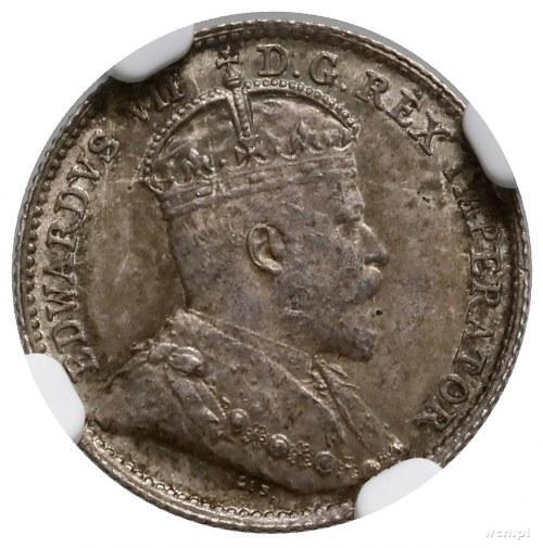 5 centów, 1910, mennica Londyn; KM 13; bardzo ładna mon...