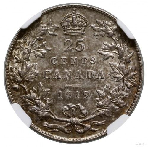 25 centów, 1919, mennica Ottawa; KM 24; ładnie zachowan...
