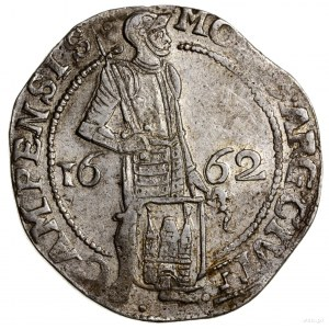 Talar (Zilveren dukaat), 1662; Aw: Rycerz stojący w pra...
