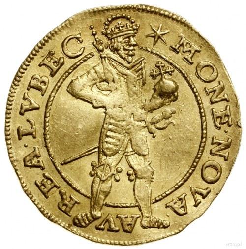 Dukat, 1646; Aw: Postać władcy w koronie, trzymającego ...