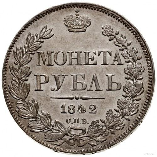 Rubel, 1842 СПБ АЧ, mennica Petersburg; mała korona na ...