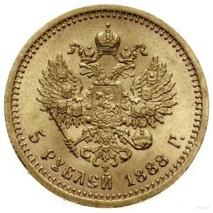 5 rubli, 1888 (АГ), mennica Petersburg; mała głowa cara...