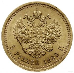 5 rubli, 1889 (А•Г), mennica Petersburg; litery АГ na o...