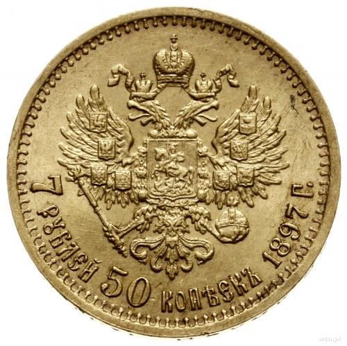7 1/2 rubla, 1897 (A•Г), mennica Petersburg; Bitkin 17,...