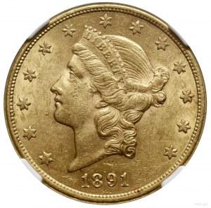 20 dolarów, 1891 CC, mennica Carson City; typ Liberty H...