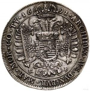 Talar, 1691, mennica Kremnica; Aw: Popiersie władcy w z...