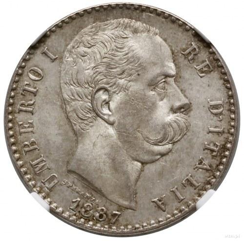 2 liry, 1887 R, mennica Rzym; KM 23, Pagani 598; bardzo...