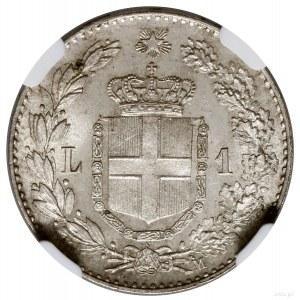 1 lir, 1887 M, mennica Mediolan; Gnecchi 1, KM 24, Paga...