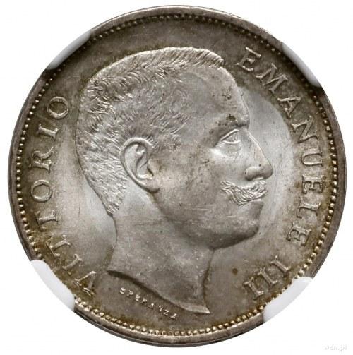 1 lir, 1906 R, mennica Rzym; KM 32, Pagani 766; pięknie...