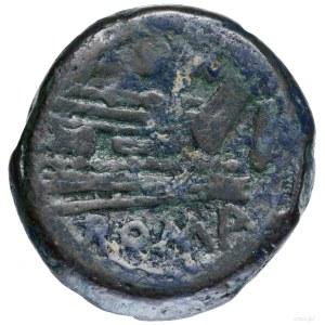 As (aes grave – uncia), 169–158 pne, Rzym; Aw: Głowa Ja...