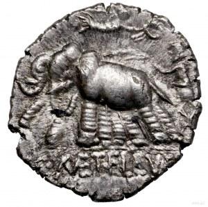 Denar, 125 pne, Rzym; Aw: Głowa Romy w hełmie w prawo, ...