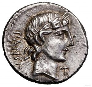 Denar, 90 pne, Rzym; Aw: Głowa Apollina w wieńcu laurow...