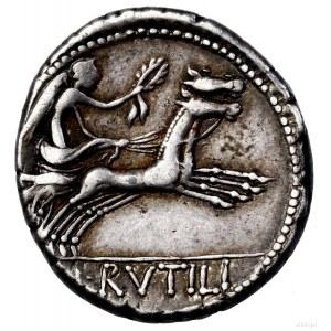 Denar, 77 pne, Rzym; Aw: Głowa Romy w hełmie w prawo, z...