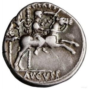 Denar, 8 pne, Lugdunum (Lyon); Aw: Głowa cesarza w wień...