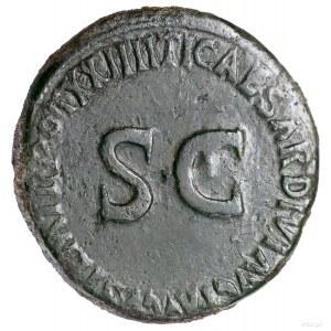 Sestercja, 22–23, Rzym; Aw: Wóz kultowy (carpentum) cią...