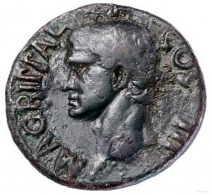 As, 37–41, Rzym; Aw: Głowa Marka Agryppy (dziadka Kalig...