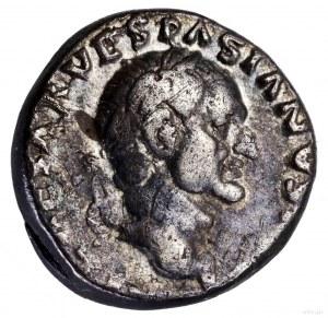 Denar, 70, Rzym; Aw: Głowa cesarza w wieńcu laurowym w ...