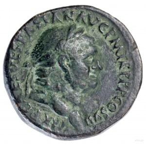 Sestercja, 76, Rzym; Aw: Głowa cesarza w wieńcu laurowy...