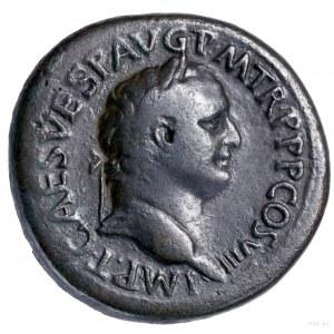 Sestercja, 80, Rzym; Aw: Głowa cesarza w wieńcu laurowy...