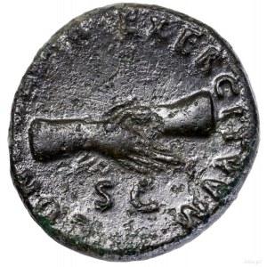 As, 97, Rzym; Aw: Głowa cesarza w wieńcu laurowym w pra...
