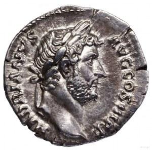 Denar, 134–138, Rzym; Aw: Głowa cesarza w wieńcu laurow...