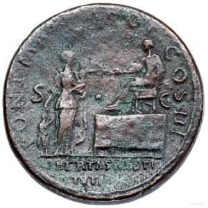 Sestercja, 119–122, Rzym; Aw: Popiersie cesarza w wieńc...