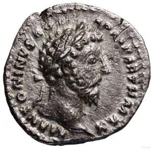 Denar, 166, Rzym; Aw: Głowa cesarza w wieńcu laurowym w...