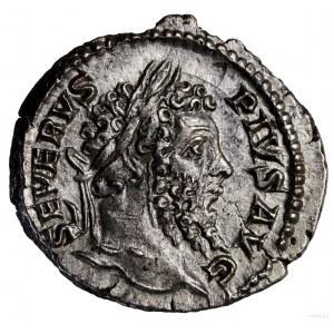 Denar, 202–210, Rzym; Aw: Popiersie cesarza w wieńcu la...