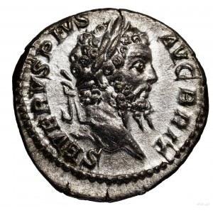 Denar, 210–211, Rzym; Aw: Głowa cesarza w wieńcu laurow...