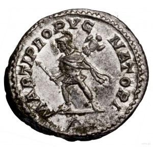 Denar, 213–217, Rzym; Aw: Głowa cesarza w wieńcu laurow...