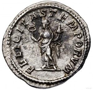 Denar, 217, Rzym; Aw: Popiersie cesarza w wieńcu laurow...
