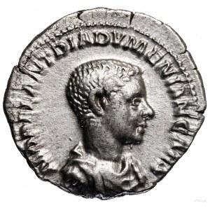 Denar, 218, Rzym; Aw: Popiersie cezara w prawo, M OPEL ...