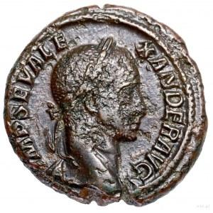As, 229, Rzym; Aw: Głowa cesarza w wieńcu laurowym w pr...