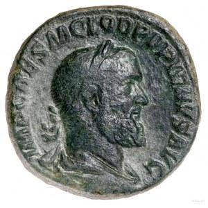 Sestercja, 238, Rzym; Aw: Popiersie cesarza w wieńcu la...