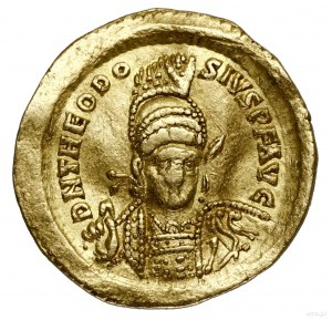 Solidus, 430–440, Konstantynopol; Aw: Popiersie cesarza...